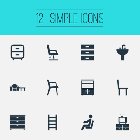 furnish: Elements Furniture Set, Waiting Man, Container And Other Synonyms Chest, Conference And Cupboard.  Vector Illustration Set Of Simple Furnishings Icons. Illustration