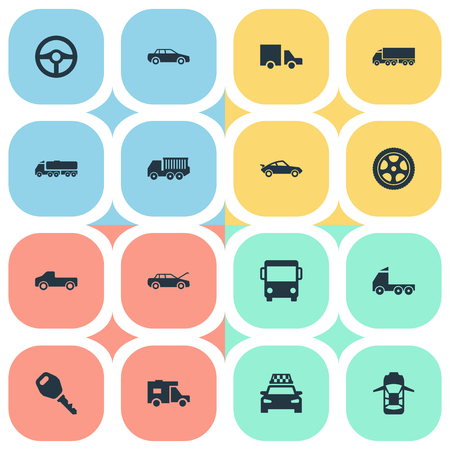 Elements Lattice, Van, Offroad And Other Synonyms Race, Carrying And Automobile.  Vector Illustration Set Of Simple Car Icons.