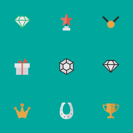 Elements Brilliant, Star, Gemstone And Other Synonyms Corona, Crown And Medal.  Vector Illustration Set Of Simple Champion Icons.