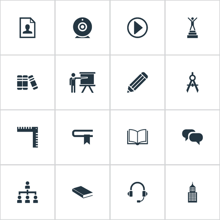 organisational: Elements Discussion, Curriculum Vitae, Communication And Other Synonyms Ruler, Book And Camera.  Vector Illustration Set Of Simple Speaker Icons. Illustration
