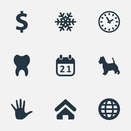 Elements Winter, Time, Hand Synonyms Dental, Calendar And House.  Vector Illustration Set Of Simple Colony Icons. Illustration