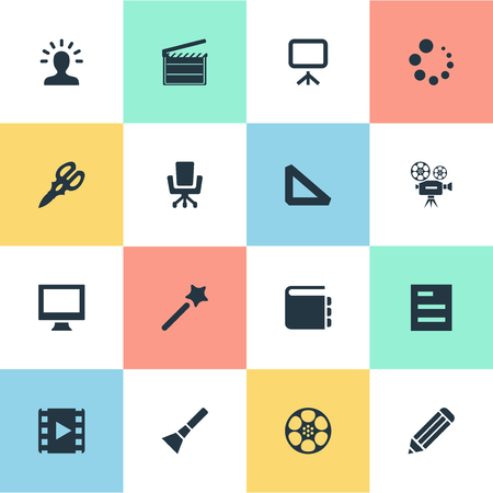 Elements Triangle Ruler, Pen, Hand Lantern Synonyms Video, Tool And Inspiration.  Vector Illustration Set Of Simple Icon Icons.