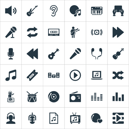 Elements Speech, Megaphone, Random Synonyms Equipment, Start And Speaker.  Vector Illustration Set Of Simple  Icons.