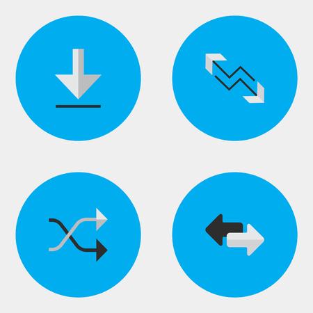 요소 Chaotically,로드, 화살표 및 기타 동의어 화살표, Chaotically 및 내보내기. 벡터 일러스트 레이 션 간단한 화살표 아이콘의 집합입니다. 스톡 콘텐츠 - 83338708