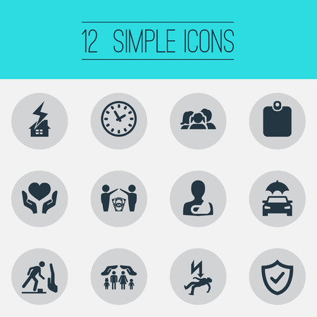 Elements Safeguard , Health Guarantees, Heart In Hand Synonyms Insurance, Automobile And Palm.  Vector Illustration Set Of Simple Fuse Icons.