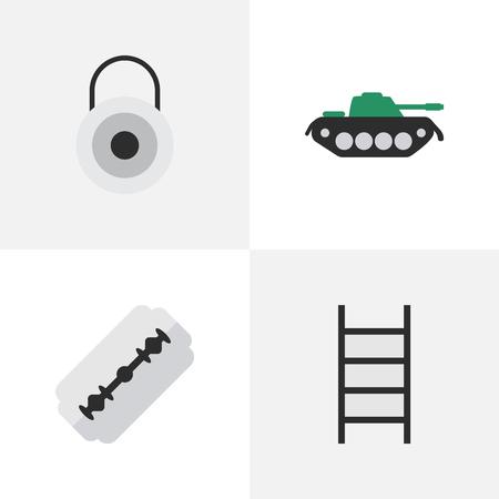 Elements Lock, Military, Blade And Other Synonymes Rasoir, Escalade Et Militaire. Illustration vectorielle définie des icônes d'infraction simple. Vecteurs