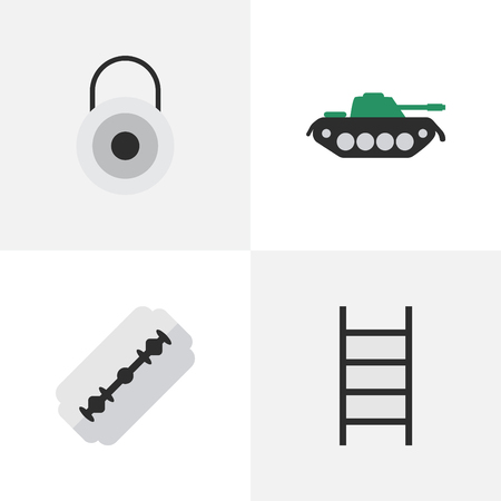 Elements Lock, Military, Blade And Other Synonyms Razor, Climbing And Military.  Vector Illustration Set Of Simple Offense Icons.