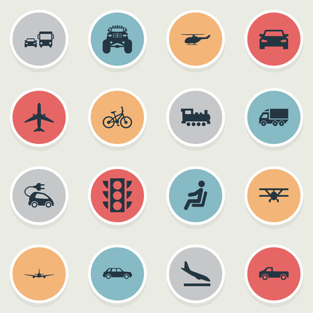 Elements Semaphore, Transport, Sedan And Other Synonyms Hybrid, Automobile And Hatchback.  Vector Illustration Set Of Simple Shipment Icons.