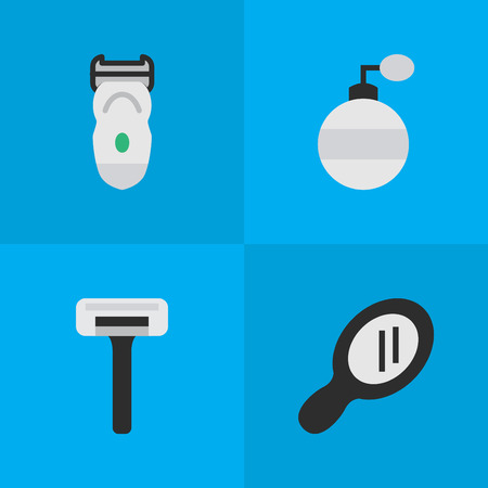Elements Shaver, Glass, Fragrance And Other Synonyms Electronic, Speculum And Machine.  Vector Illustration Set Of Simple Barber Icons.