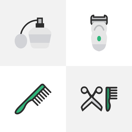 Elements Electronic, Hairbrush, Comb And Other Synonyms Machine, Bottle And Tool.  Vector Illustration Set Of Simple Hairdresser Icons. Illustration