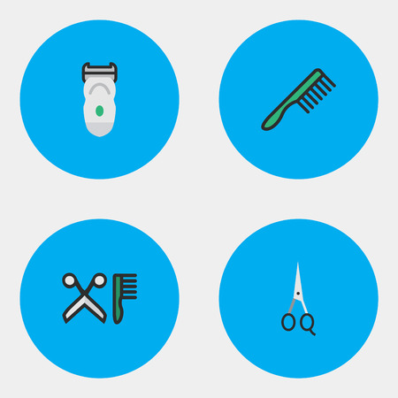 Elements Hairbrush, Electronic, Scissors And Other Synonyms Shear, Machine And Clippers.  Vector Illustration Set Of Simple Barber Icons.