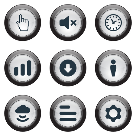 Elements Silence, Upload, Settings And Other Synonyms Select, Cloud And Customer.  Vector Illustration Set Of Simple Web Icons.