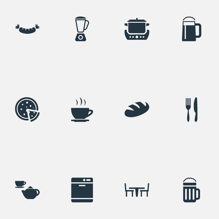 요소 밀, 토틸라, 소시지 및 다른 동의어 컵, 나이프와 차. 벡터 일러스트 레이 션 간단한 요리 아이콘 집합입니다. 일러스트