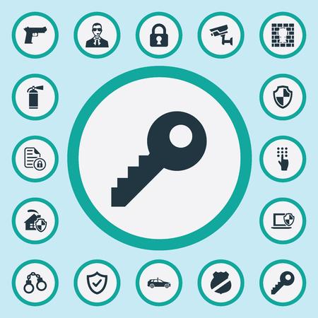 요소 홈, 방패, 카메라 및 다른 동의어 키, 비밀 및 권총을 추적 보호합니다. 벡터 일러스트 레이 션 간단한 안전 아이콘의 집합입니다.