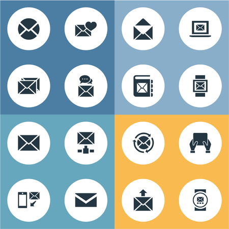 要素のメーリング リスト、メモ帳、メッセージングおよびその他の類義語バレンタイン、メッセージおよびニュース。 単純な通信アイコンのベクタ