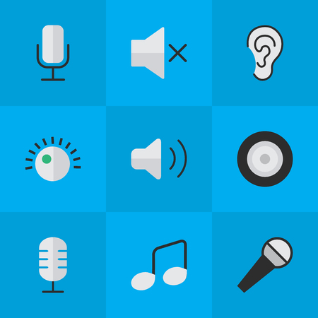 Elements Listen, Volume, Record And Other Synonyms Regulator, Sign And Sound.  Vector Illustration Set Of Simple Sound Icons.