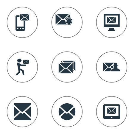 Elements Sent, Inbox, Notice And Other Synonyms Writing, Protected And Post.  Vector Illustration Set Of Simple Mailing Icons.
