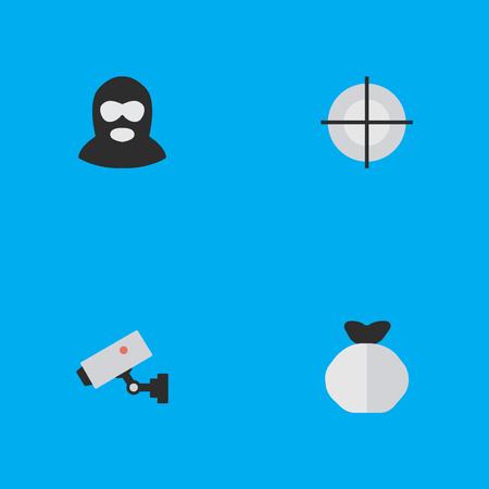Elementi Sniper, Criminal, Supervision e altri sinonimi Supervision, Security And Maleficent. Illustrazione vettoriale Set of Simple Criminal Icons. Archivio Fotografico - 83338729