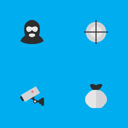 Elements Sniper, Criminal, Supervision And Other Synonyms Supervision, Security And Maleficent.  Vector Illustration Set Of Simple Criminal Icons.