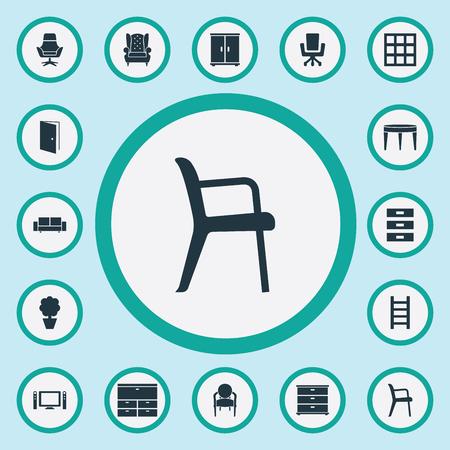 Elementen Trap, kabinet, kantoorinterieur en andere synoniemenlijst, conferentie en commodes. Vectorillustratiereeks Eenvoudige Meubilairpictogrammen.