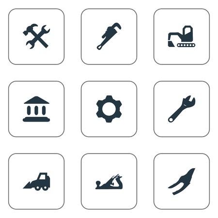 Elementenzaag, mechanische sleutel, werkplaats en andere synoniemen-sleutel, graafmachine en reparatie. Vector illustratie Set van eenvoudige industriële iconen. Stock Illustratie
