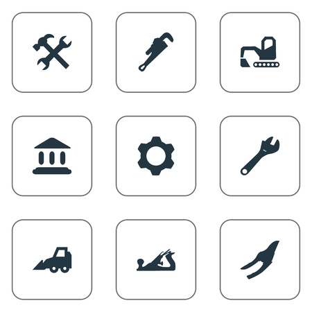 Elements Saw, Mechanic Key, Workshop And Other Synonyms Wrench, Digger And Repair.  Vector Illustration Set Of Simple Industrial Icons.
