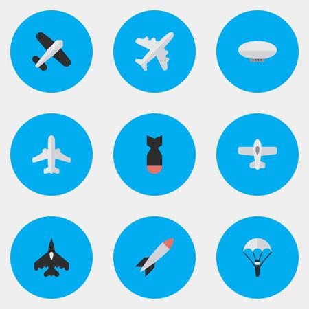 Elements Rocket, Flying Vehicle, Plane And Other Synonymes Ballons, avion de ligne et avion. Illustration vectorielle Set Of Simple Aircraft Icons. Banque d'images - 83364536