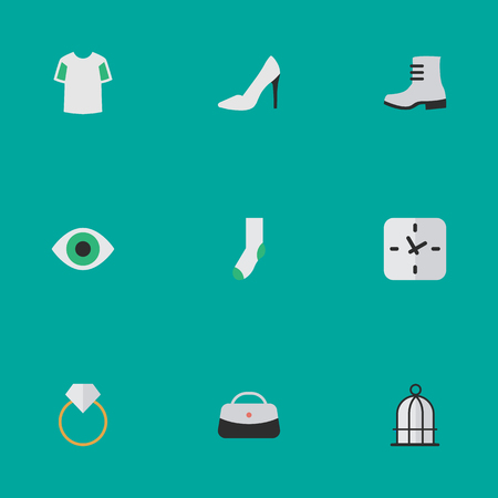 Elements Jersey, View, Engagement And Other Synonyms Prison, Heel And Ring.  Vector Illustration Set Of Simple Instrument Icons.