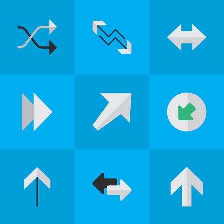 Elements Upwards, Forward, Chaotically And Other Synonyms Upward, Northwest And Export.  Vector Illustration Set Of Simple Indicator Icons.
