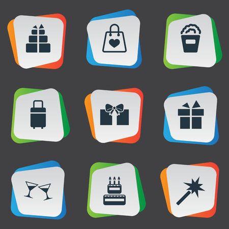 bakery products: Elements Spell, Cocktail, Present And Other Synonyms Bucket, Luggage And Candle.  Vector Illustration Set Of Simple Festal Icons.