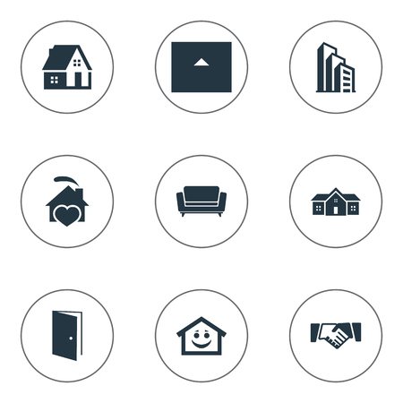 Vector Illustration Set Of Simple Real Icons. Elements Smiley Casa, Partnership, Residence And Other Synonyms Heart, Residence And Cottage. Фото со стока - 83387680
