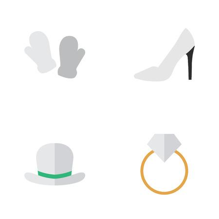 シンプルな楽器アイコンのベクター イラスト セット。要素ミトン、婚約、かかと、他の同義語ヒール Fedora と手袋。  イラスト・ベクター素材