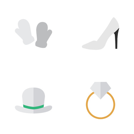 Vector Illustration Set Of Simple Instrument Icons. Elements Mitten, Engagement, Heel And Other Synonyms Heel, Fedora And Gloves.