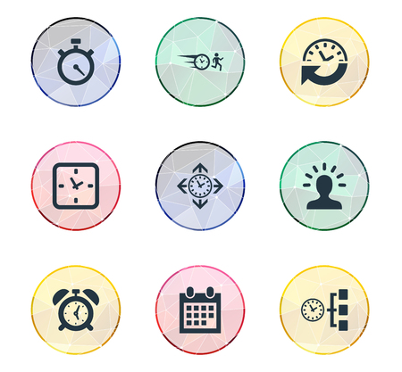 Vector Illustration Set Of Simple Time Icons. Elements Intellect, Recurrence, Stopwatch And Other Synonyms Man, Calendar And Arrow. Illustration