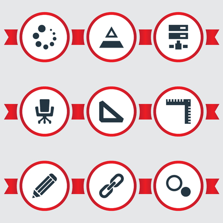 Vector Illustration Set Of Simple Icon Icons. Elements Pen, Chain, Blueprint And Other Synonyms Blueprint, Progress And Ruler.