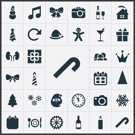 Vector Illustration Set Of Simple Celebration Icons. Elements Alcohol Beverage, Ice Man, December And Other Synonyms Decoration, Watch And Refresh.