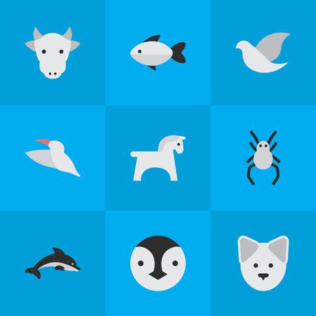 Vector illustratie Set van eenvoudige wilde pictogrammen. Elements Wolf, Tarantula, Fish And Other Synoniemen huisdier, dolfijn en baars.