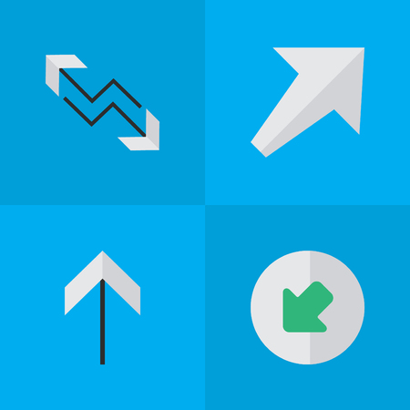 Vector Illustration Set Of Simple Cursor Icons. Elements Northwestward, Arrow, Southwestward And Other Synonyms Northwestward, Boom And Arrow.