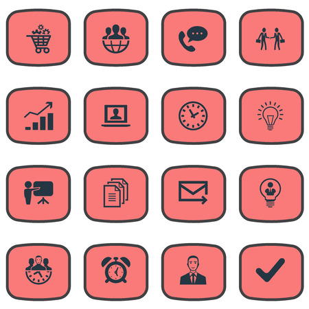 intercommunication: Vector Illustration Set Of Simple Plan Icons. Elements Bubl, Watch, Gear Cart And Other Synonyms Mail, Light And Check.