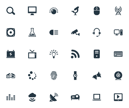 Vector Illustration Set Of Simple Device Icons. Elements System Unit, Broadcast, Bulb And Other Synonyms Processor, Mouse And Dipped. Illustration
