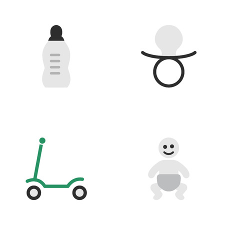Vector Illustration Set Of Simple Child Icons. Elements Nipple, Kick, Vial And Other Synonyms Children, Baby And Bottle.
