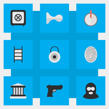 Vector Illustration Set Of Simple Crime Icons. Elements Grille, Criminal, Safe And Other Synonyms Password, Lock And Climbing.