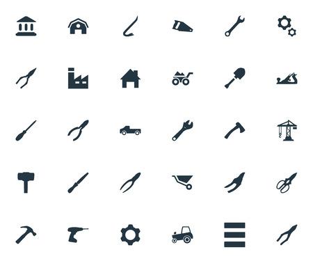 벡터 일러스트 레이 션 간단한 산업 아이콘의 세트입니다. 요소 교통, 펜 치, 악기 클램프 및 다른 동의어 기계, 건설 및 클리핑. 일러스트