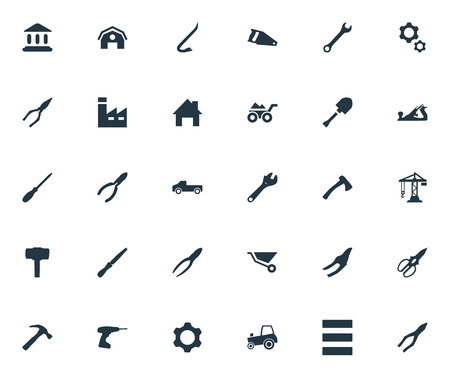 Vector Illustration Set Of Simple Industrial Icons. Elements Transportation, Pliers, Clamping Instrument And Other Synonyms Machine, Construction And Clipping. 向量圖像