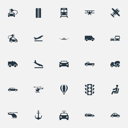벡터 일러스트 레이 션 간단한 배송 아이콘의 집합입니다. 엘리먼트 폭기, 헬리콥터, 지하철 및 기타 동의어시, 다운 그레이드 및 헬리콥터.