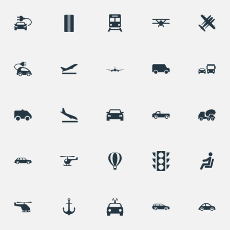 Vector Illustration Set Of Simple Shipment Icons. Elements Aeration, Helicopter, Metro And Other Synonyms City, Downgrade And Helicopter.