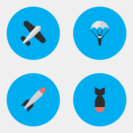 Vector Illustration Set Of Simple Airplane Icons. Elements Bomb, Rocket, Catapults And Other Synonyms Man, Rocket And Vehicle.