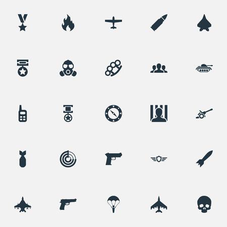 Illustrazione vettoriale Set di icone di combattimento semplice. Elements Star, Walkie-Talkie, Shot e altri sinonimi Jailer, artiglieria e bombardiere. Archivio Fotografico - 83387817