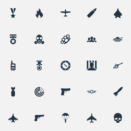 Vector Illustration Set Of Simple Combat Icons. Elements Star, Walkie-Talkie, Shot And Other Synonyms Jailer, Artillery And Bomber. 向量圖像