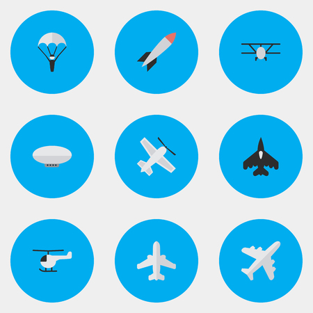 Vector Illustration Set Of Simple Plane Icons. Elements Craft, Bomb, Flying Vehicle And Other Synonyms Aircraft, Chopper And Rocket. Çizim